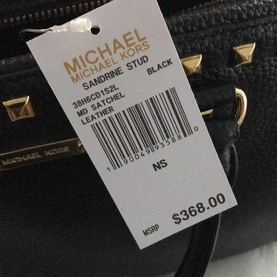 MICHAEL Michael Kors Satchel in black leather with gold stud trim. Image 6