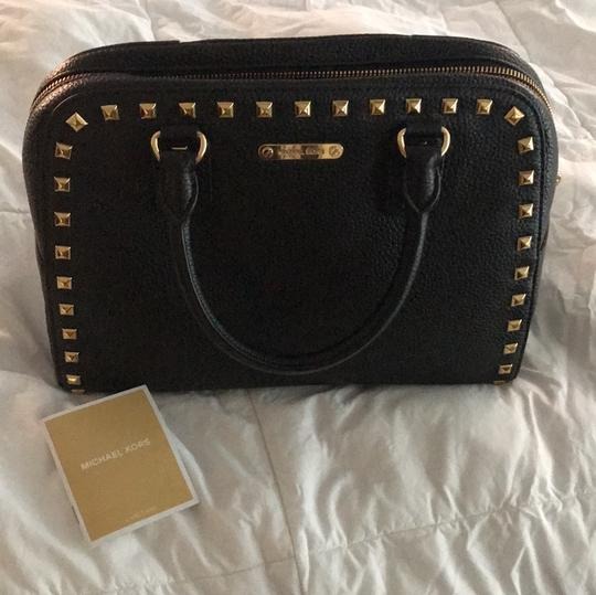 MICHAEL Michael Kors Satchel in black leather with gold stud trim. Image 7