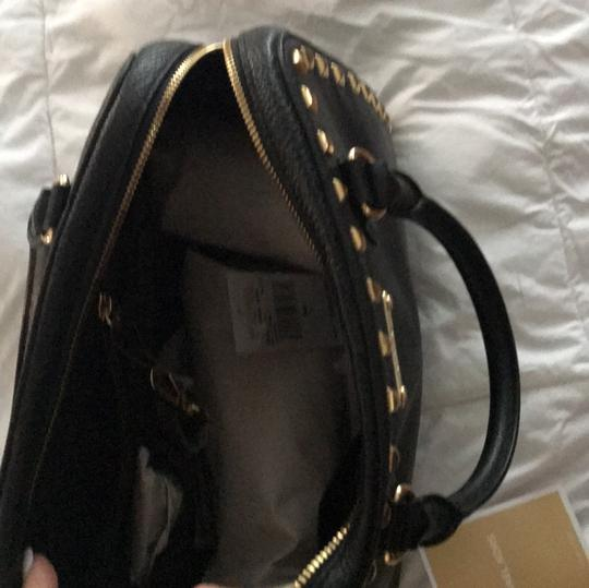 MICHAEL Michael Kors Satchel in black leather with gold stud trim. Image 8