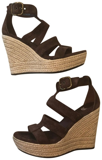 UGG Australia Dark Brown Strappy Suede Wedges Size US 6 Regular (M, B) UGG Australia Dark Brown Strappy Suede Wedges Size US 6 Regular (M, B) Image 1