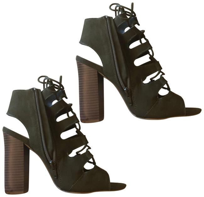 Bamboo Dark Green Strappy Tie Up Zip Up Boots/Booties Size US 7.5 Regular (M, B) Bamboo Dark Green Strappy Tie Up Zip Up Boots/Booties Size US 7.5 Regular (M, B) Image 1