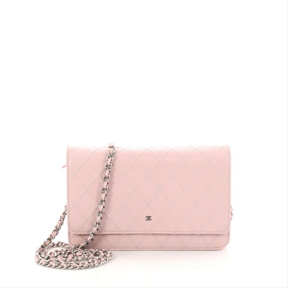 fe692755ca1c Chanel Wallet on Chain Diamond Stitch Quilted Light Pink Lambskin ...