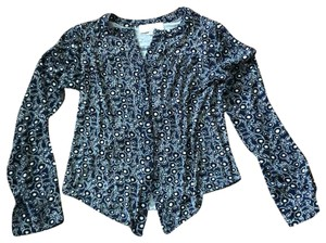 Ann Taylor LOFT Button Down Shirt Navy with Black and White