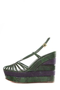 Tory Burch Green & Navy Wedges