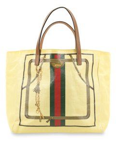 Gucci Canvas East West Tote in Yellow