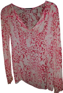 Elie Tahari Pink Butterfliy Flowers Silk Top multi