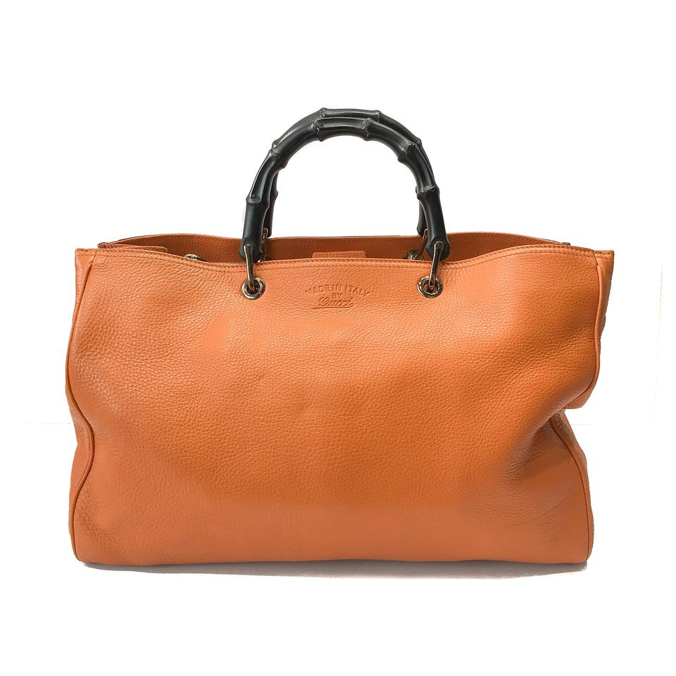 d7e0f8600d3 Gucci Large Bamboo Shopper Orange Calfskin Leather Tote - Tradesy