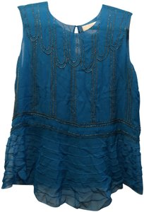 3.1 Phillip Lim Embroidered Beaded Top Bright Blue/ Turquoise
