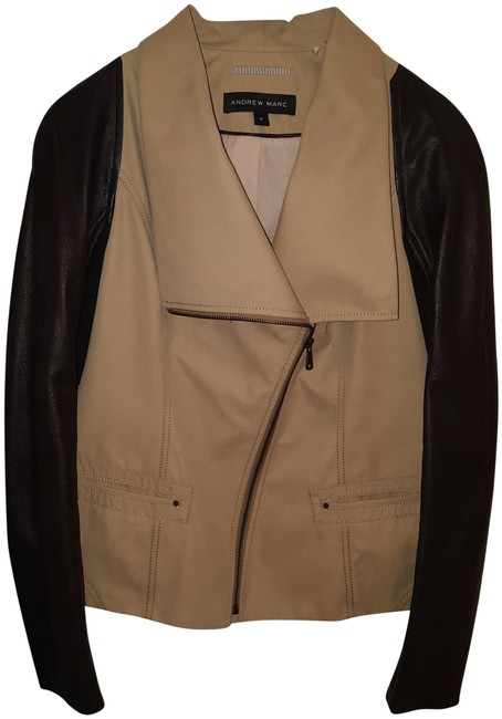 Item - Tan and Black Asymmetrical Zip Front with Sleeves Jacket Size 8 (M)