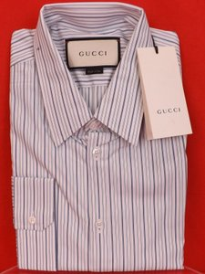 Gucci Multi-color / Blue / Midnight Blue Striped Cotton Buttons Redular 17 43 #406828 Shirt