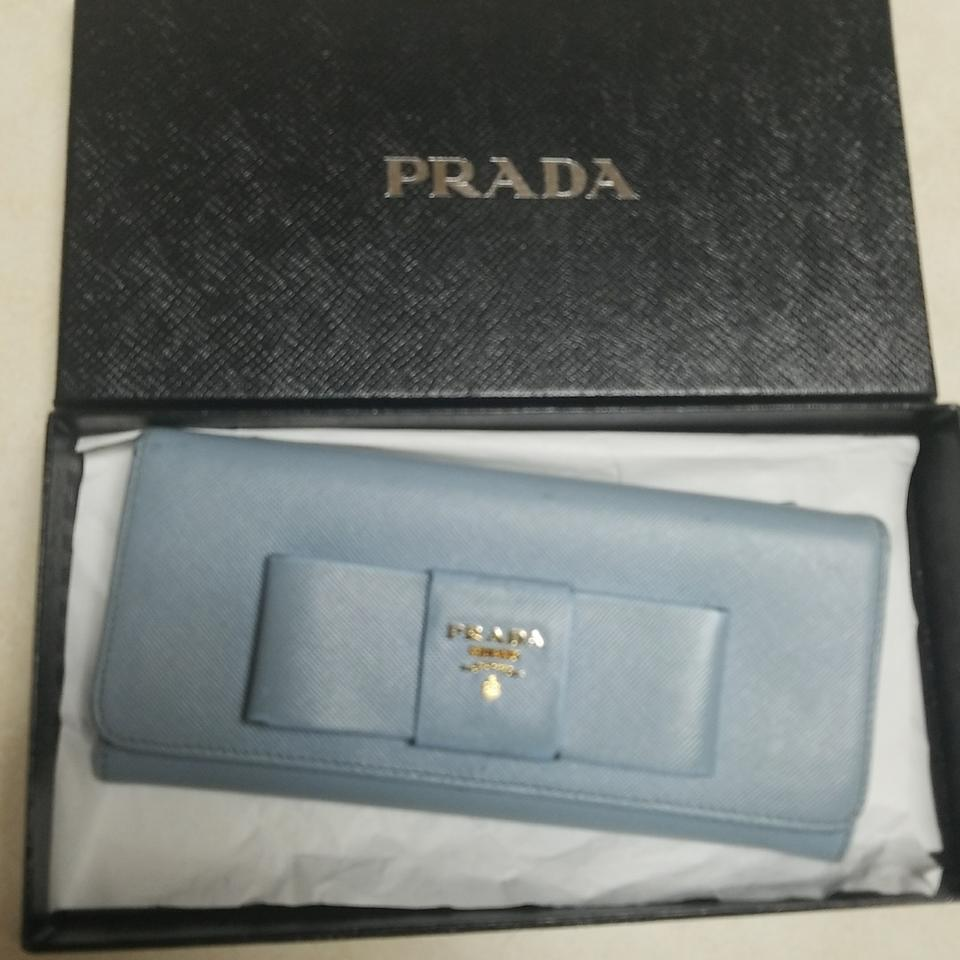 79f94e5294a1 Prada Light Blue Saffiano Leather Fiocco Bow Wallet - Tradesy