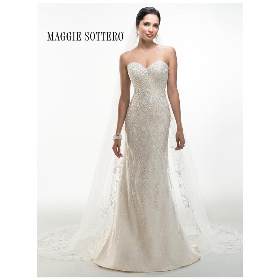 Maggie Sottero Ivory Light Gold Lace \'donna\' Bridal Gown Modern ...