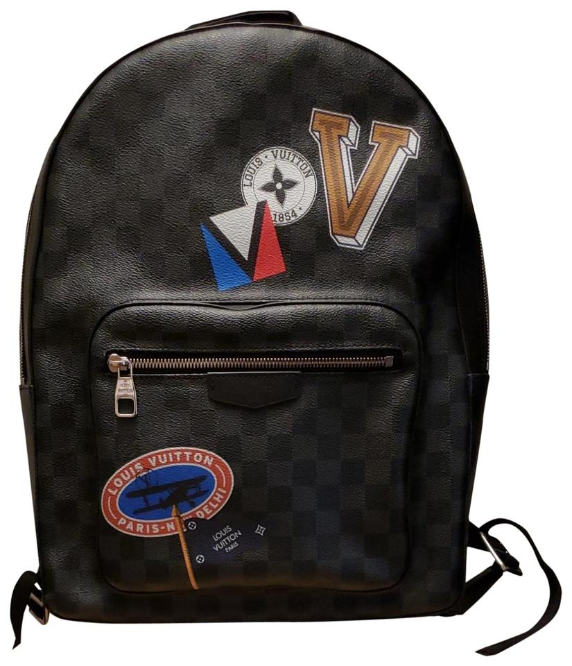 34127da6290 Louis Vuitton Graphite Damier Ebene Josh Stickers Travel Backpack ...