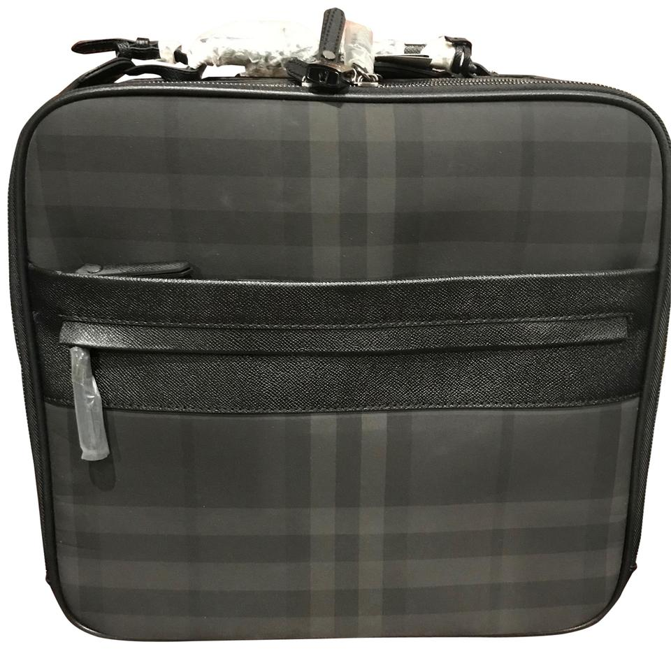 fc4b85af9717 Burberry Black Checked Carry-on Roller Suitcase Weekend Travel Bag ...