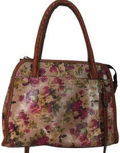 Patricia Nash Designs Shoulder Leather Floral Print Satchel in tans, red, pink, green, yellow