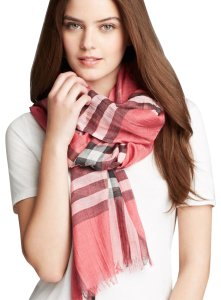 Burberry Bright Rose Pink Check Half Mega Silk Cashmere Scarf