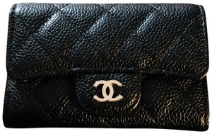 Chanel New Chanel Classic Caviar Card Holder in Black SHW