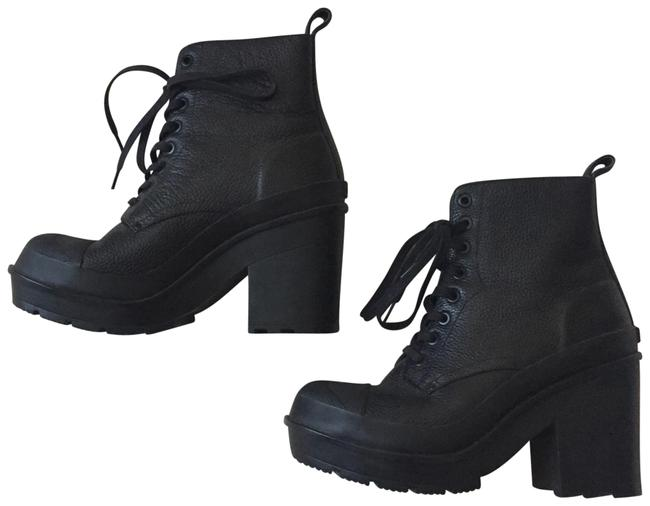 Item - Black Leather Grainy Lace-up Boots/Booties Size US 8 Regular (M, B)