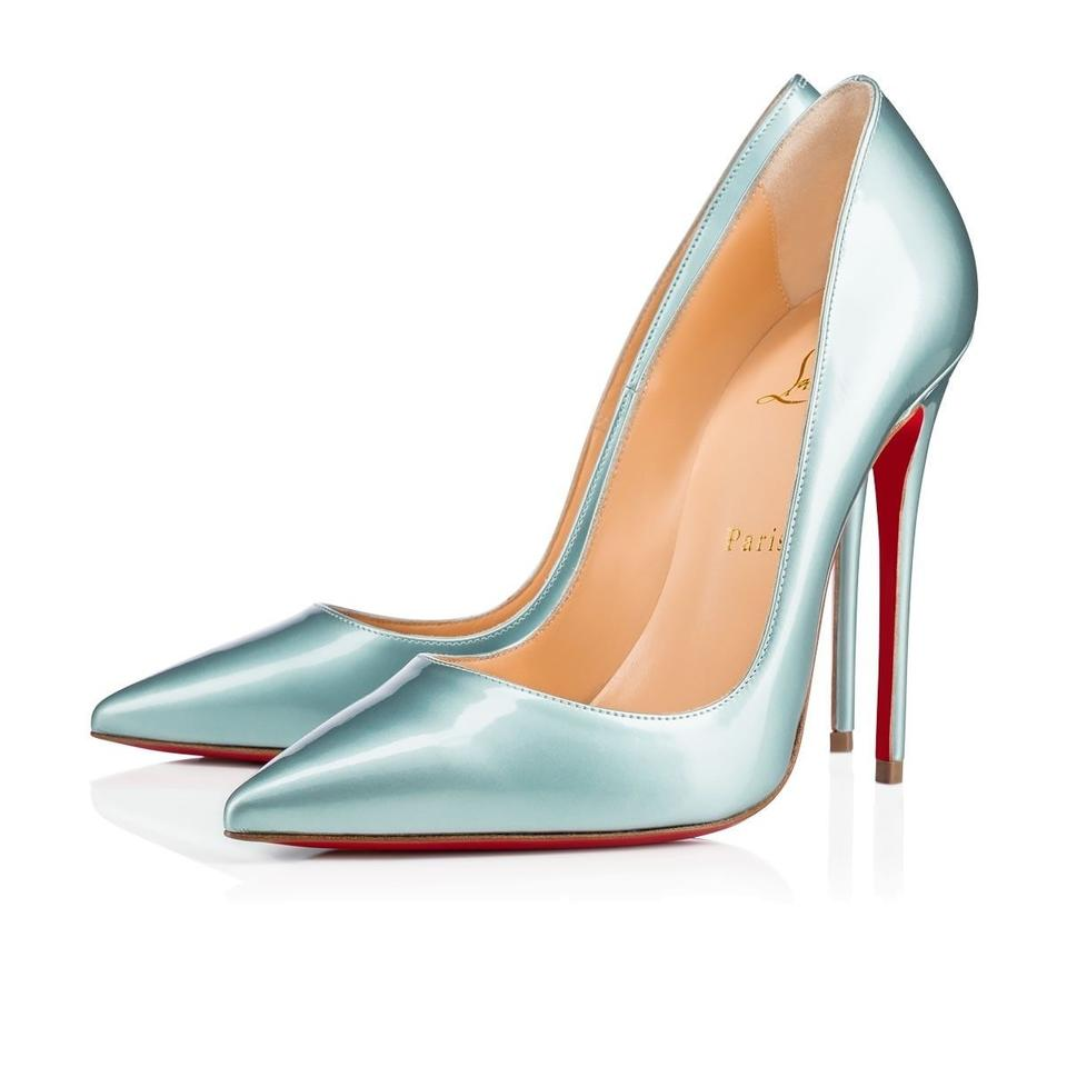 huge selection of ccd77 9964e Christian Louboutin Blue So Kate 120 Icy Everest Metal Patent Satin Leather  Pointed Heel Pumps Size EU 39 (Approx. US 9) Regular (M, B)