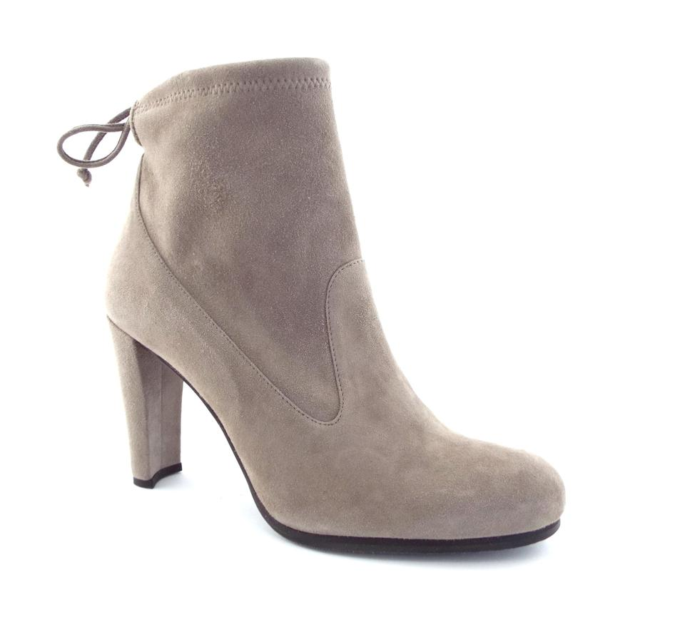843da4578218 Stuart Weitzman Topo Gray Stretch Suede Leather Signature Tie-back Ankle  Boots Booties