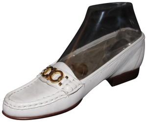 Selby Perfect For Summer Comfy Classic Loafer Style Mint Vintage Gancini Style white leather with gold accents Flats