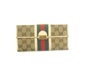 Gucci Web GG Monogram Canvas Leather Long Clutch Wallet Italy