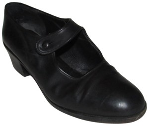 Henry Beguelin Dressy Or Casual 40's Rockabilly Look Mary Jane Style Mint Condition Made In Italy black leather Pumps