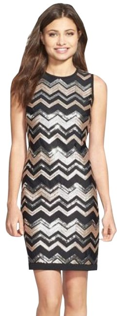 Preload https://img-static.tradesy.com/item/23486334/vince-camuto-black-gold-silver-and-sequin-chevron-print-shift-short-cocktail-dress-size-10-m-0-1-650-650.jpg