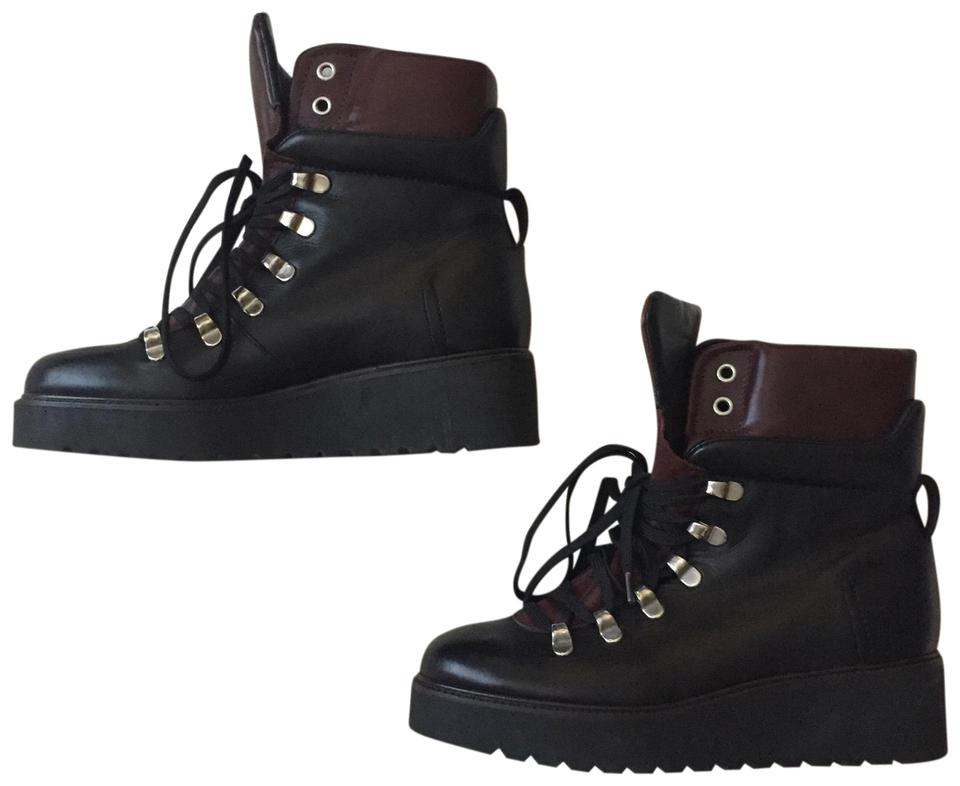 ca5467939cfb Zara Black Wedge Leather Hiking Ankle Boots Booties. Size  EU 36 (Approx. US  6) ...