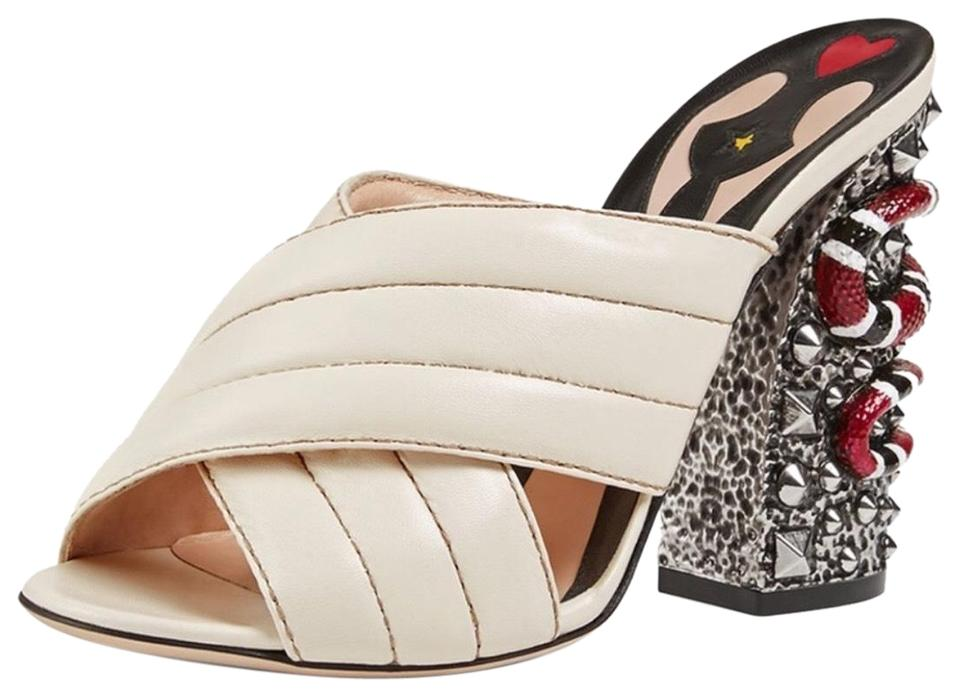 901b475c58f Gucci Cream Webby Quilted Leather Mules Slides Size EU 36 (Approx ...