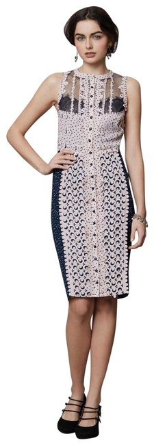 Item - Multi-color Anthropologie Lasercut Sheath By Navy & Pink Mid-length Cocktail Dress Size 2 (XS)