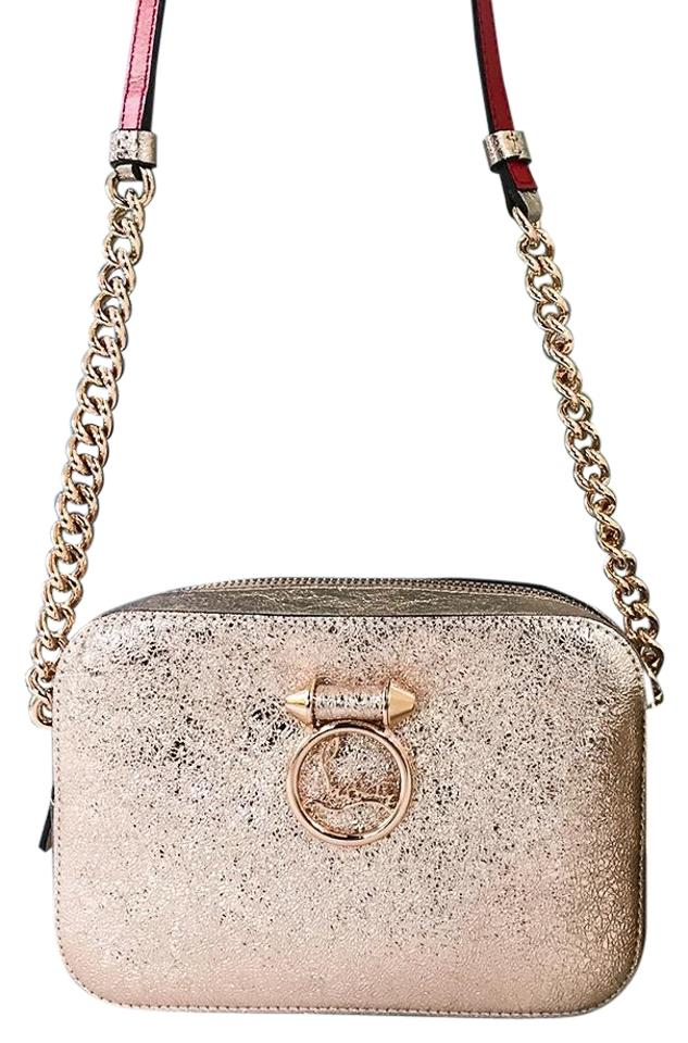 ff749dcc49a Christian Louboutin Rubylou Mini Rose Gold Metallic Leather Cross Body Bag  43% off retail