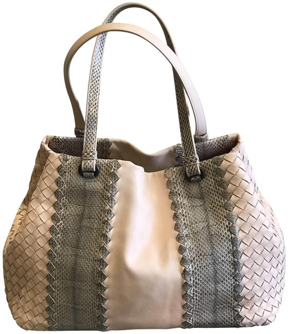 Bottega Veneta Snake and Napa Leather Pink Tote Bottega Veneta Snake and Napa Leather Pink Tote Image 1