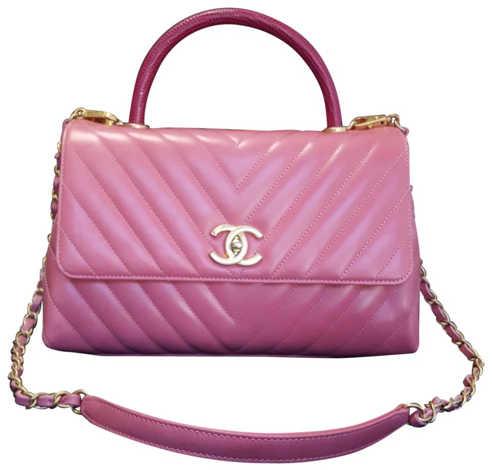 ec2b51a94755 Chanel Small Chevron Coco In Lizard Handle Tea Rose Calfskin Leather ...