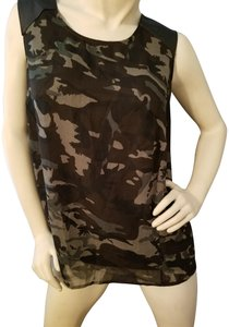 Ali & Kris Camouflage Sleevless Zip Tunic Length Sheer Top black and green