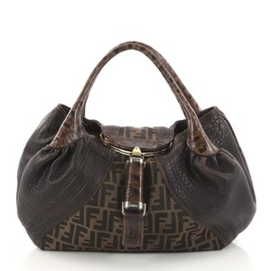 Fendi Canvas Leather Satchel in Brown