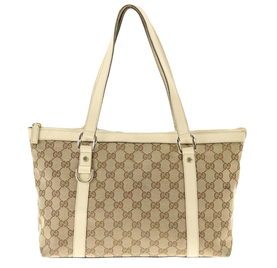 05cb2e91227cd7 Gucci Abbey Gg Brown Canvas Tote - Tradesy