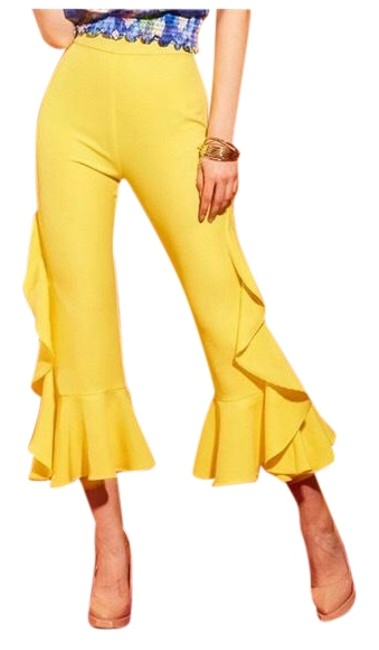 Preload https://img-static.tradesy.com/item/23487217/yellow-bold-flared-ruffle-crop-stretch-capricropped-pants-size-12-l-32-33-0-1-650-650.jpg