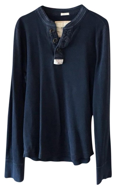 Item - Navy Blue L Pre Owned Long Sleeve Mens Blouse Size 12 (L)