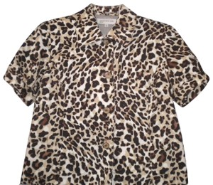 Jones New York Career Button Front Lined Animal Print Short Sleeve Button Down Shirt Multi-Color