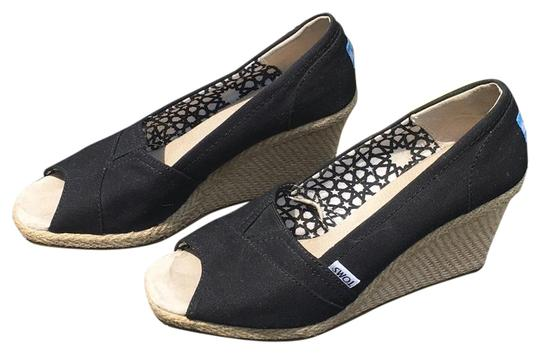TOMS Black Classic Wedges Size US 9