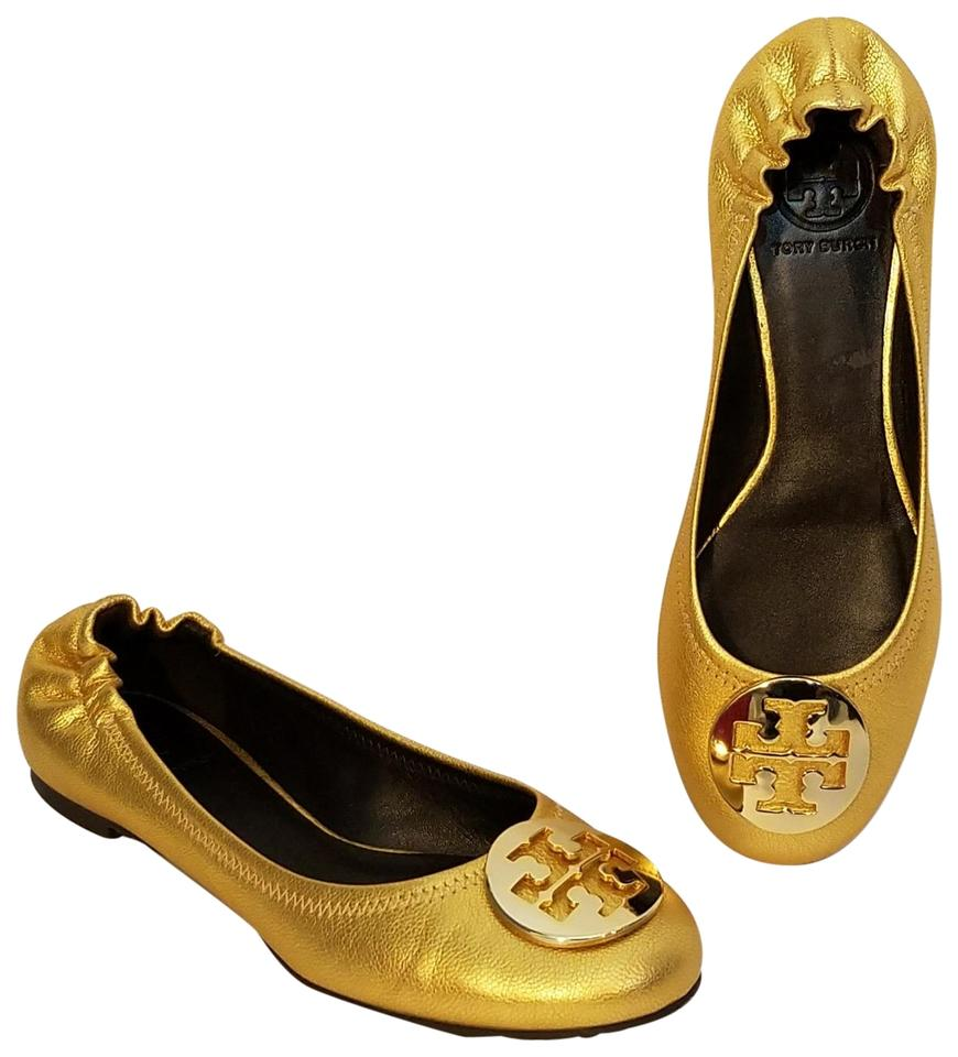 546bf31b402c Tory Burch Gold Distressed Leather Reva  Flats. Size  US 8 Regular (M ...