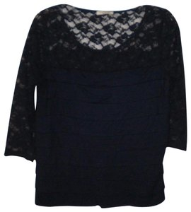 Katie K 3/4 Sleeves Lace Rayon Top Navy