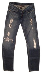 A|X Armani Exchange Tattered Relaxed Pants Blue Jeans