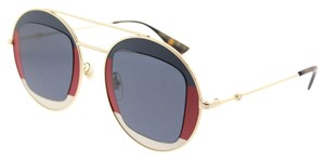 Gucci Gucci GG0105S 005 Striped Red Gold Metal Round Sunglasses Blue Lens