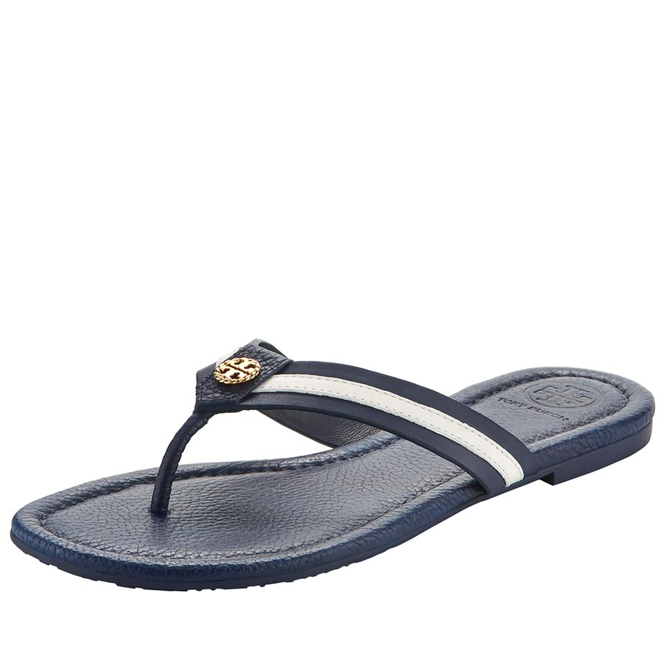 daadecd94c39b5 Tory Burch Navy White Maritime Striped Flat Thong White Blue Sandals ...