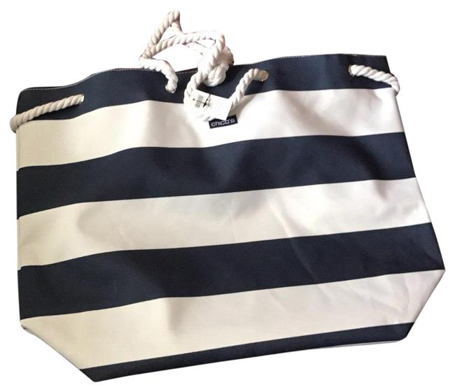 Item - Large Stripe 20x15x7 Inches Navy and White Tote