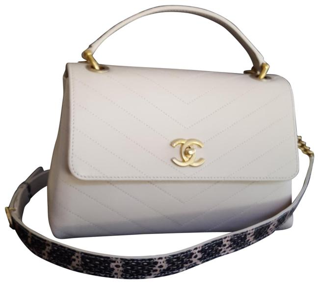 Chanel Classic Flap With Python Top Handle Beige Calfskin Leather Cross Body Bag Chanel Classic Flap With Python Top Handle Beige Calfskin Leather Cross Body Bag Image 1
