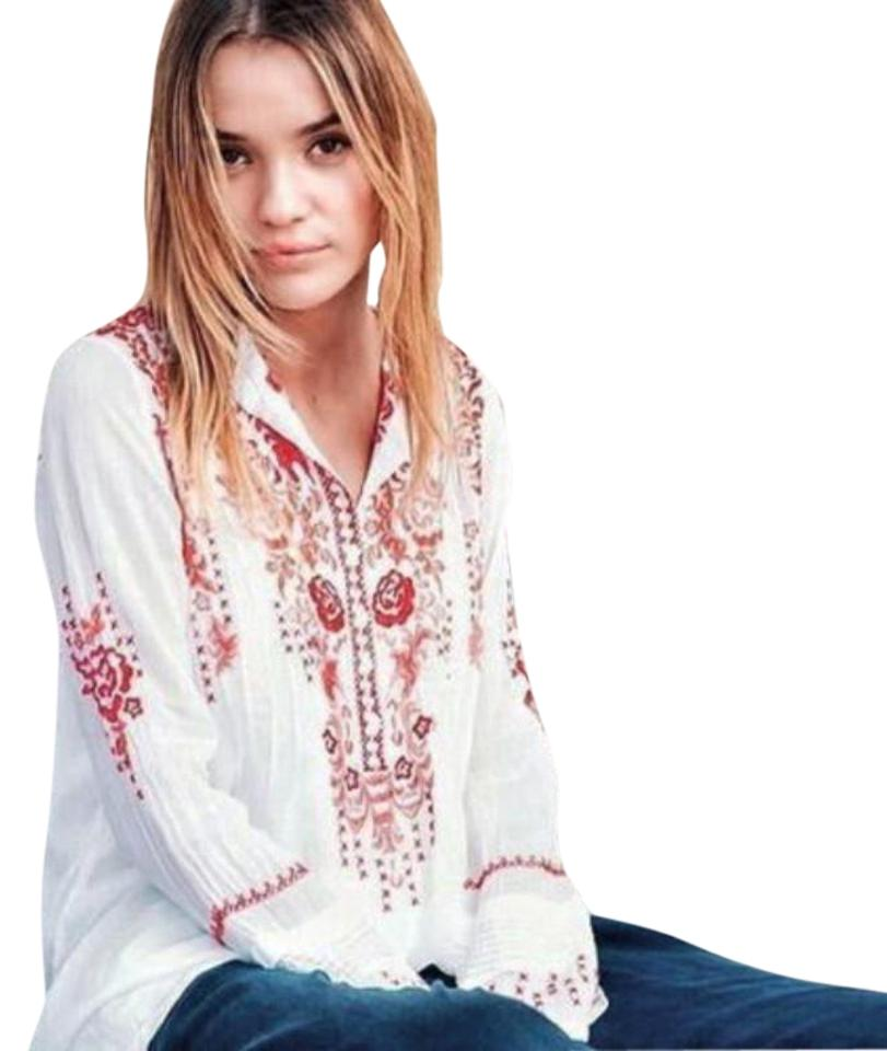 5da9cf90f4be5 Johnny Was White Red Pintuck Embroidered Tunic Blouse Size 2 (XS ...