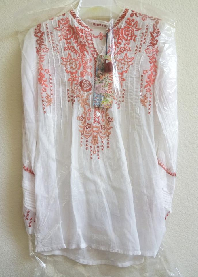3fb2cfdb0e510 Johnny Was Bold Embroidery Pintuck Pleats Split Neck Color Pop Embroidery  Long Sleeves Top White Red. 1234567891011